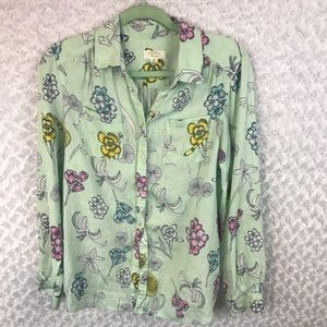 Charter Club Luxury Floral Linen Button Down Shirt